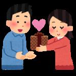 男性にチョコを渡す女性