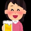 お酒を飲んで笑顔の女性(いらすとや)