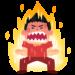 激怒で身体が燃えている男性
